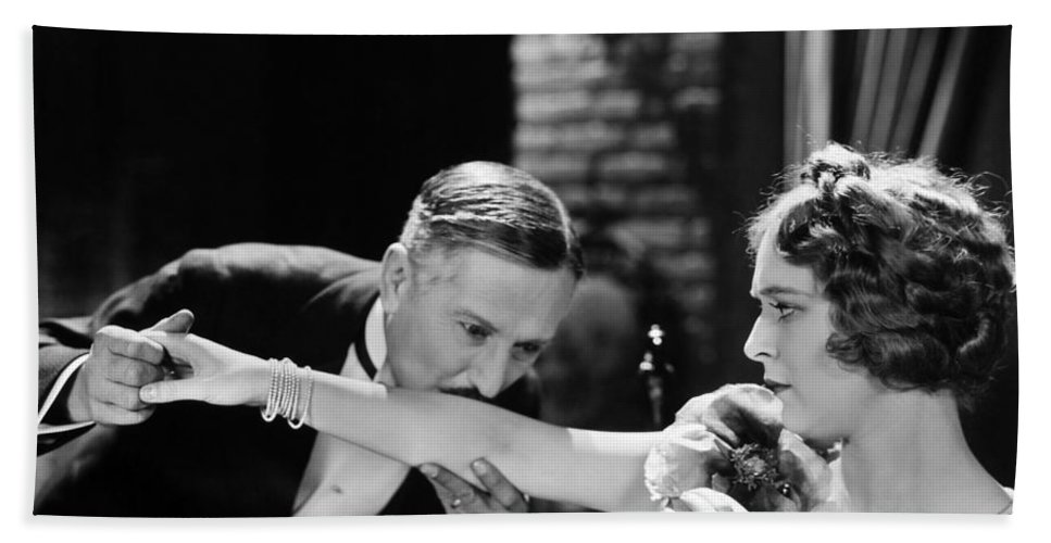 -couples- Bath Sheet featuring the photograph Silent Film Still: Couples by Granger