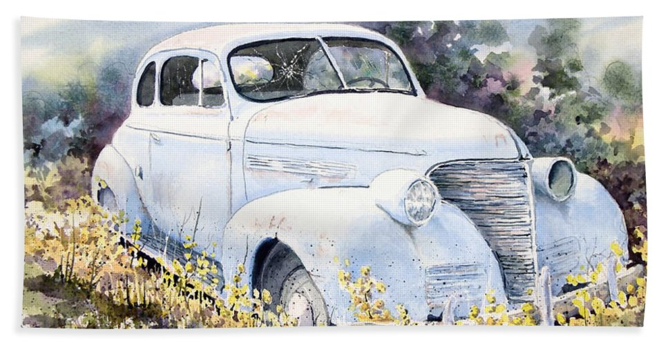 Automobile Bath Sheet featuring the painting 39 Chevy by Sam Sidders