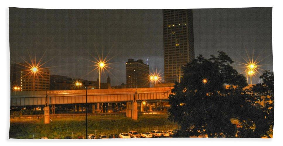 Buffalo Hand Towel featuring the photograph 3am Lightning Storm by Michael Frank Jr