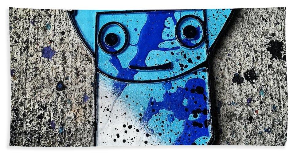 Abstractexpressionism Bath Sheet featuring the sculpture 3d Goon by Whut Bm