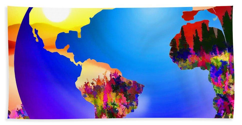 3d Render Of Planet Earth Bath Sheet featuring the digital art 3d Render Of Planet Earth 18 by Jeelan Clark