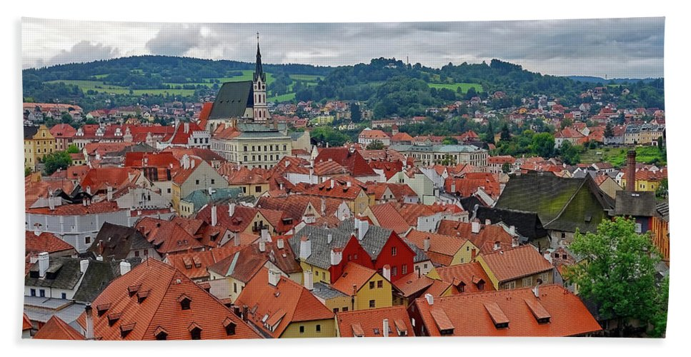Cesky Krumlov Hand Towel featuring the photograph A View Of Cesky Krumlov In The Czech Republic by Richard Rosenshein