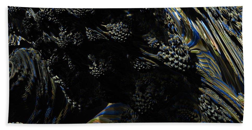 Abstract Hand Towel featuring the digital art Abstract Fractal Landscape by Miroslav Nemecek