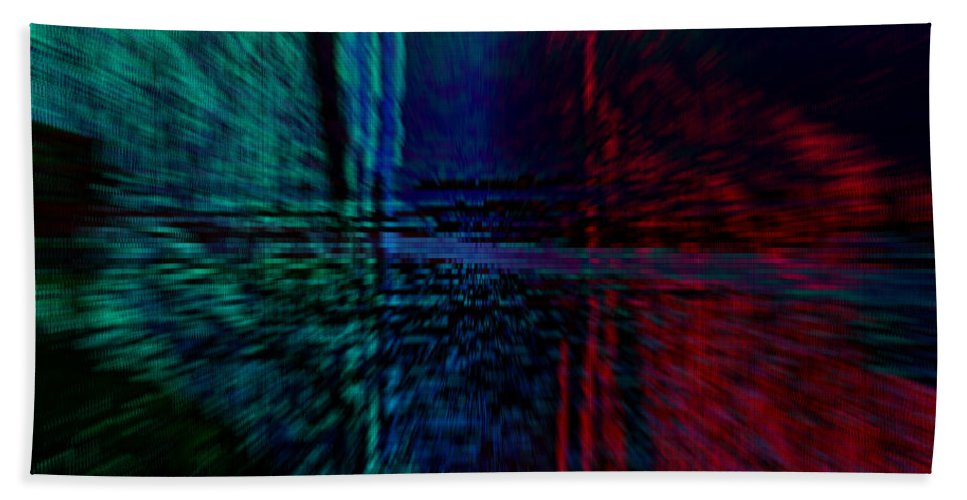 Abstract Red Blue Bath Sheet featuring the digital art Abstract by Galeria Trompiz