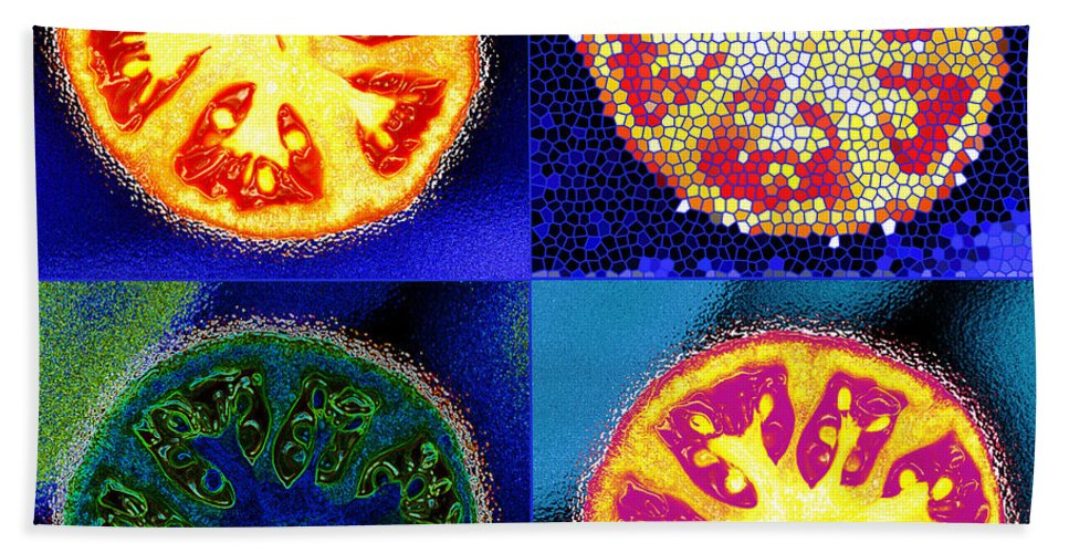 Tomatoes Bath Sheet featuring the photograph 4 Abstract Tomatoes by Nancy Mueller