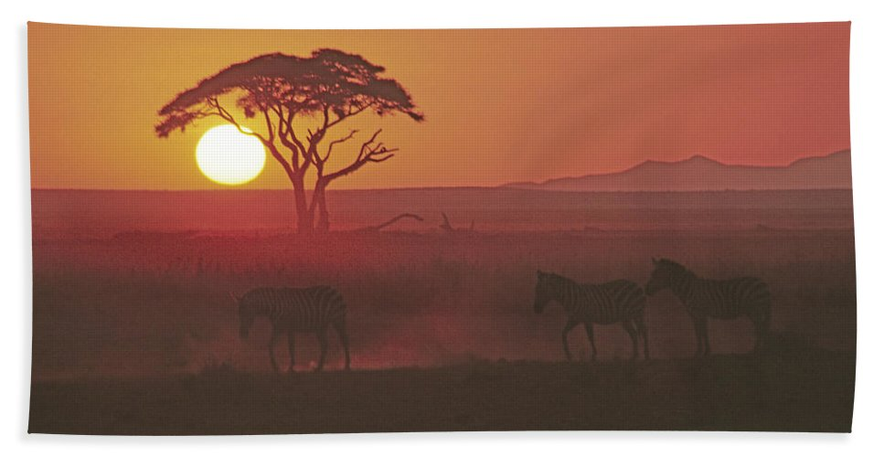 Africa Hand Towel featuring the photograph African Sunrise by Michele Burgess