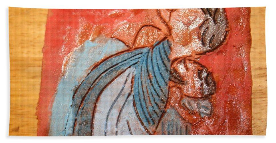 Jesus Hand Towel featuring the ceramic art Akaweese - Tile by Gloria Ssali