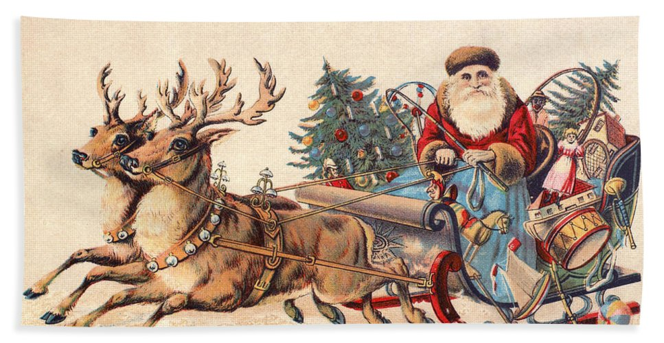 19th Century Bath Sheet featuring the photograph American Christmas Card by Granger