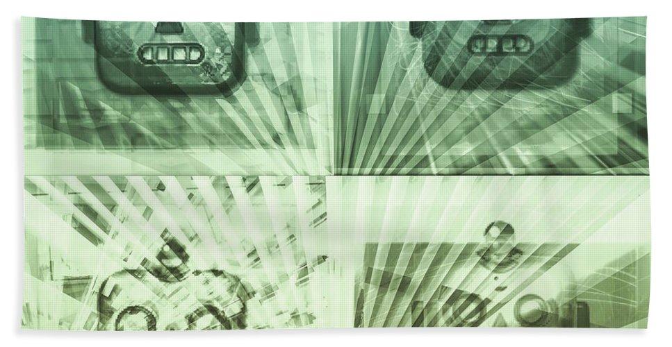 Robots Bath Sheet featuring the digital art 4 Angry Robots by Marko Sabotin