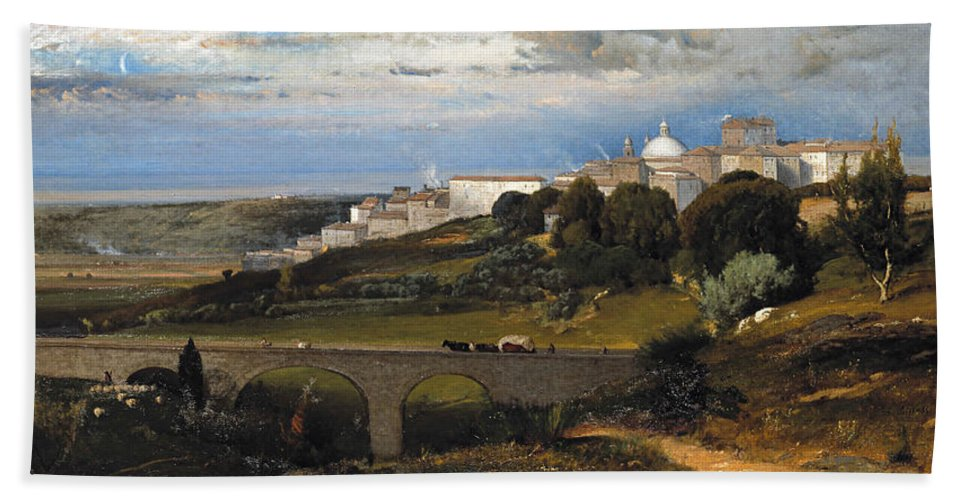 George Inness Bath Sheet featuring the painting Ariccia by George Inness
