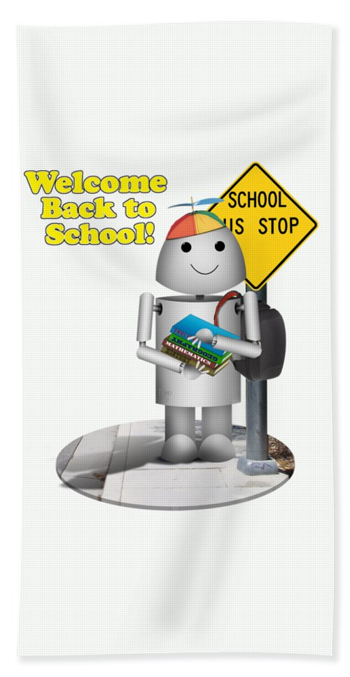 Back To School Bath Sheet featuring the digital art Back To School Little Robox9 by Gravityx9 Designs
