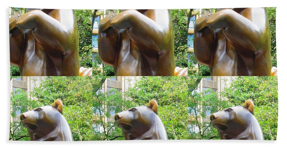 Statue Hand Towel featuring the photograph Bronze Statue Sculpture Of Bear Clapping Fineart Photography From Newyork Museum Usa Fineartamerica by Navin Joshi