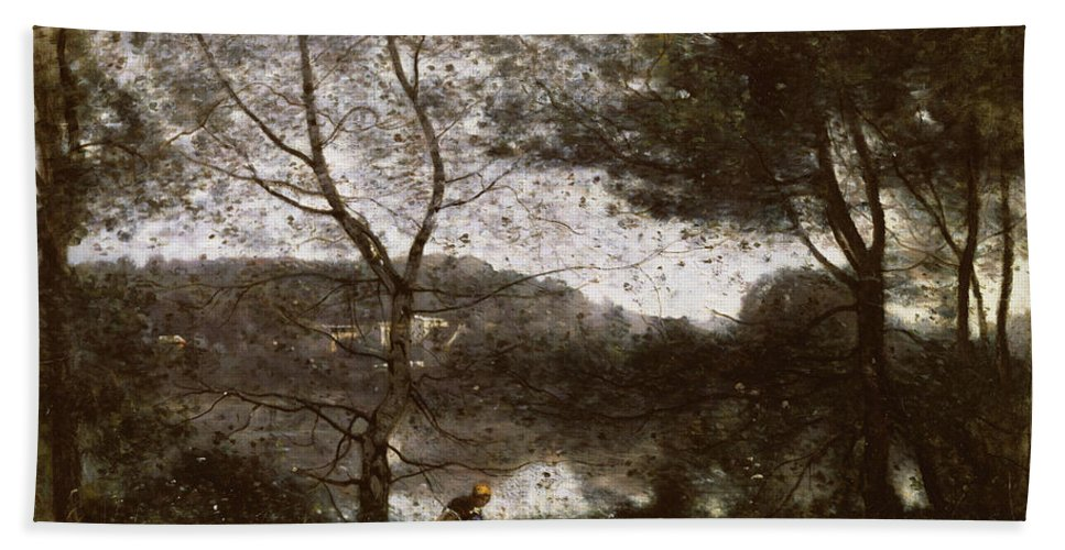 Ville-d'avray Bath Sheet featuring the painting Camille Corot by MotionAge Designs