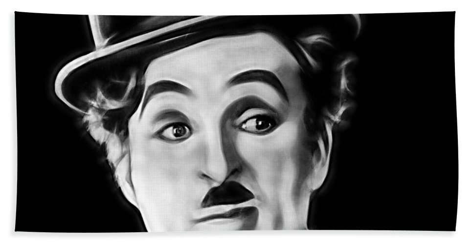 Charlie Chaplin Bath Sheet featuring the mixed media Charlie Chaplin Collection by Marvin Blaine