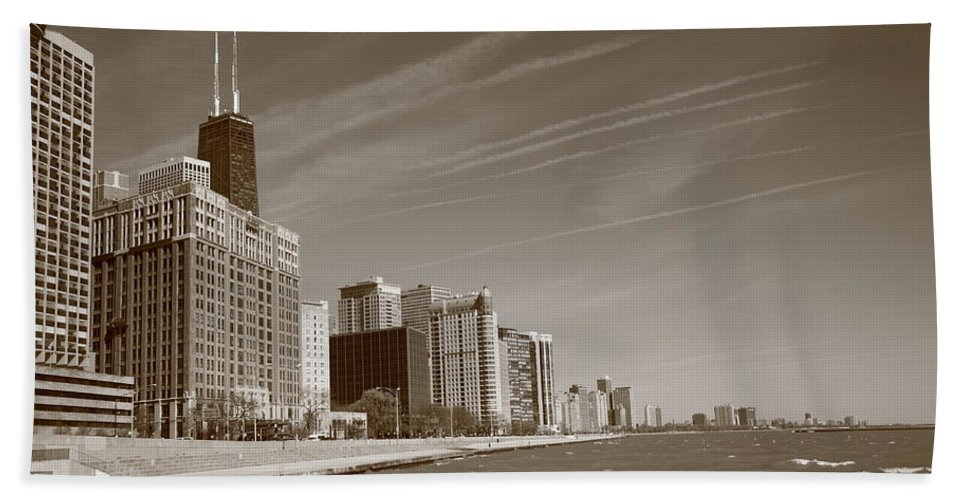 America Bath Sheet featuring the photograph Chicago Skyline And Beach by Frank Romeo
