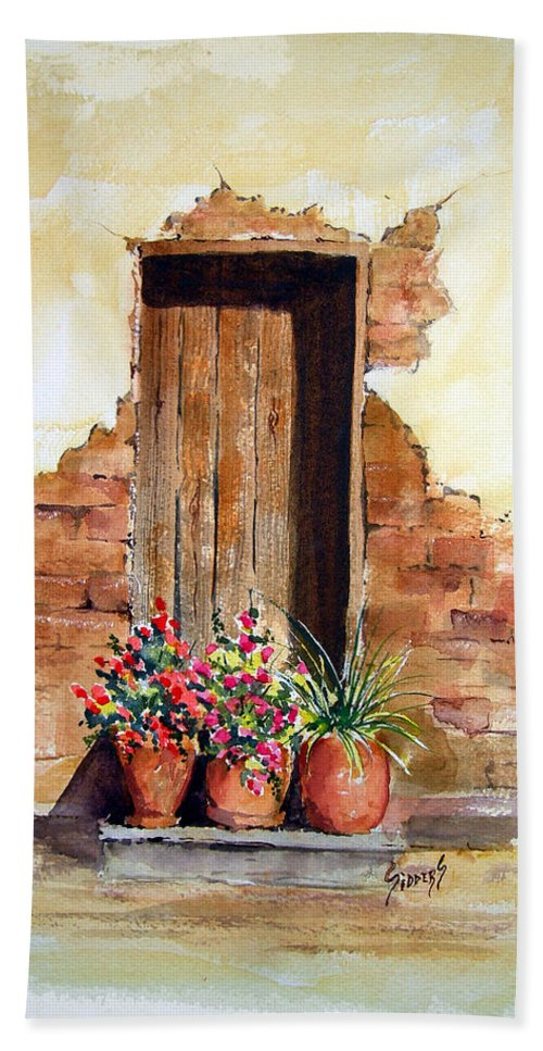 Door Hand Towel featuring the painting Door With Pots by Sam Sidders
