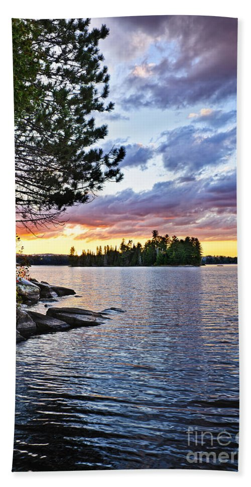 Sunset Bath Sheet featuring the photograph Dramatic Sunset At Lake by Elena Elisseeva