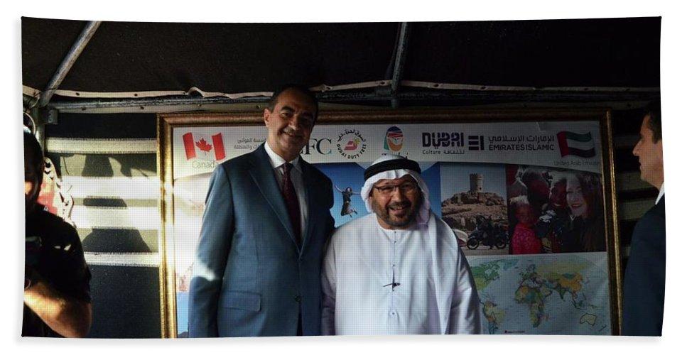 Bath Sheet featuring the digital art Dubai Travelers Festival by Mohamed Dekkak