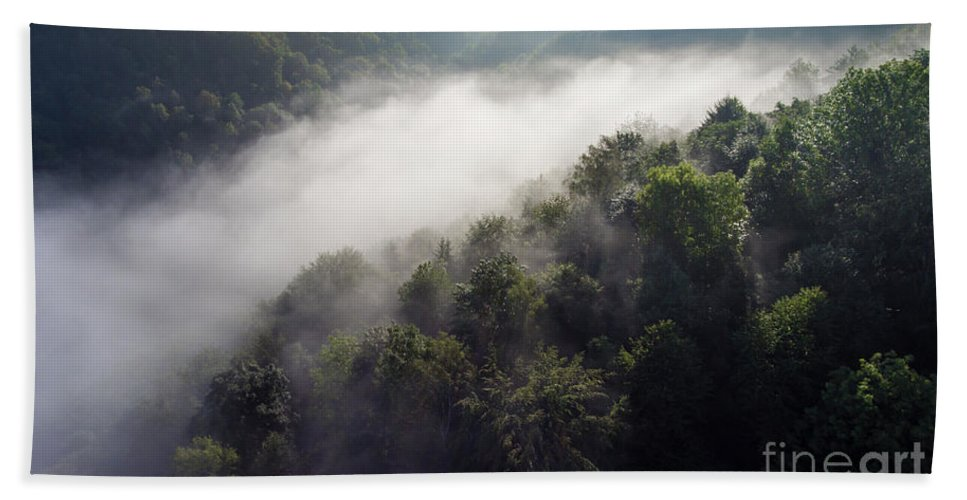 Above Bath Towel featuring the photograph Fantastic Dreamy Sunrise On Foggy Mountains by Mariusz Prusaczyk