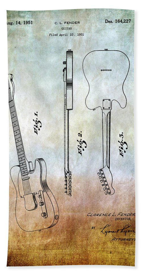 Fender Bath Sheet featuring the photograph Fender Guitar Patent From 1951 by Chris Smith