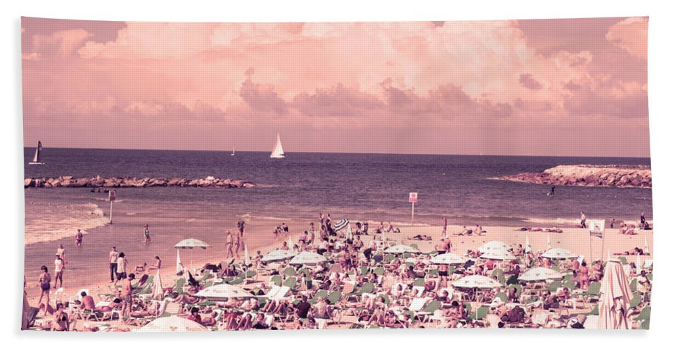 Tel Aviv Hand Towel featuring the photograph Gordon Beach, Tel Aviv, Israel by Humorous Quotes
