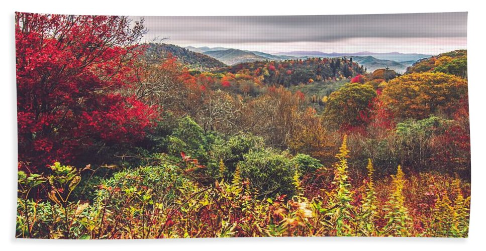 Autumn Bath Sheet featuring the photograph Graveyard Fields Overlook In The Smoky Mountains In North Caroli by Alex Grichenko