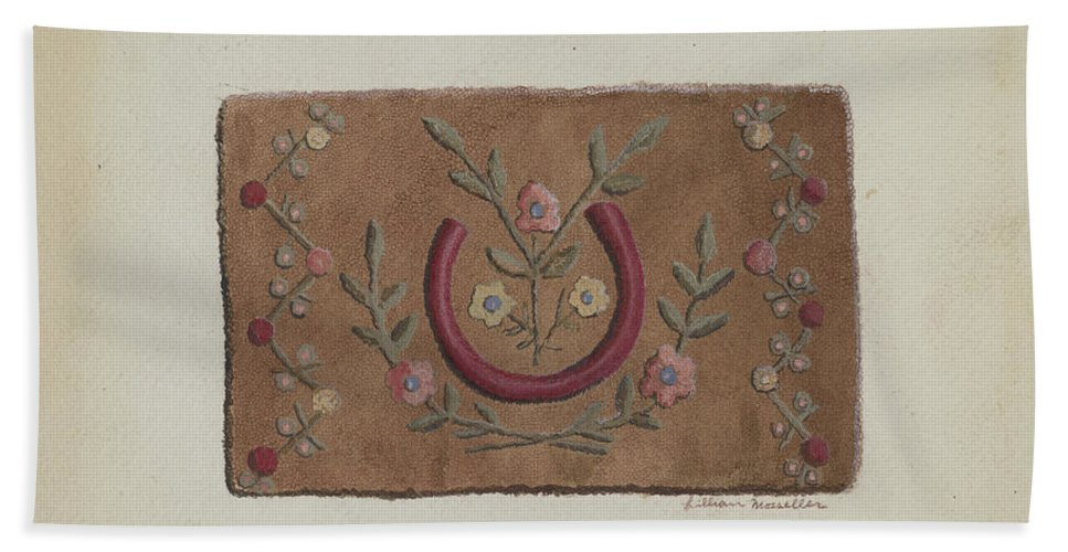 Hand Towel featuring the drawing Hooked Rug by Lillian M. Mosseller