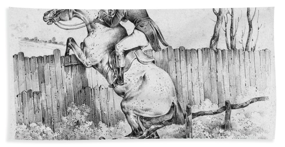 1840 Bath Sheet featuring the photograph Horserider, C1840 by Granger