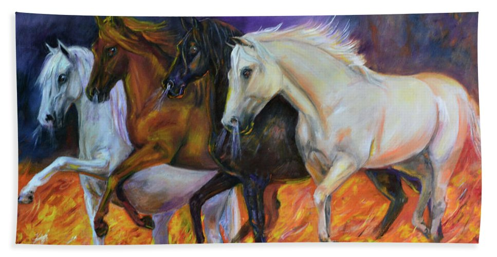 Horse Hand Towel featuring the painting 4 Horses Of The Apocalypse by Olga Kaczmar