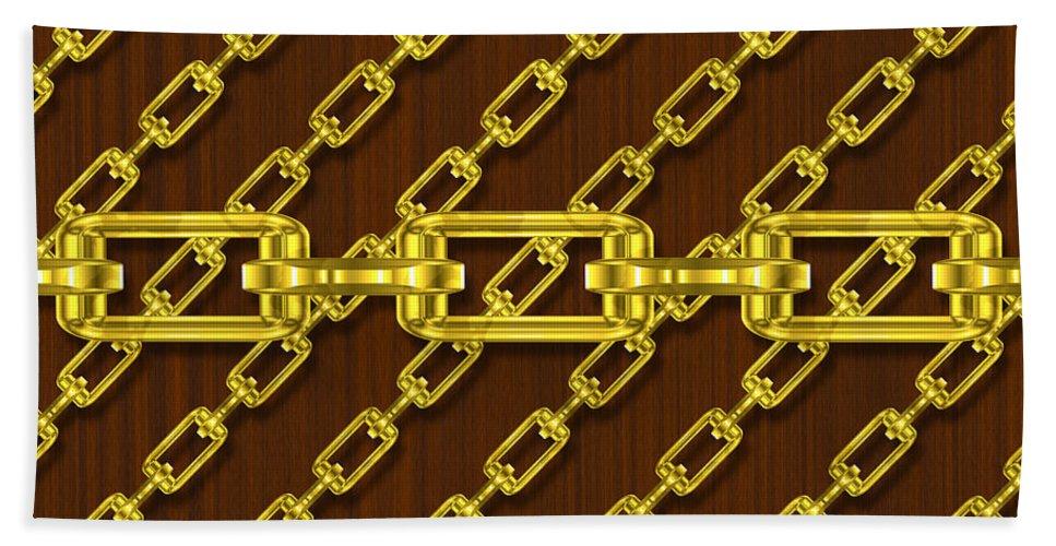 Seamless Hand Towel featuring the digital art Iron Chains With Wood Seamless Texture by Miroslav Nemecek