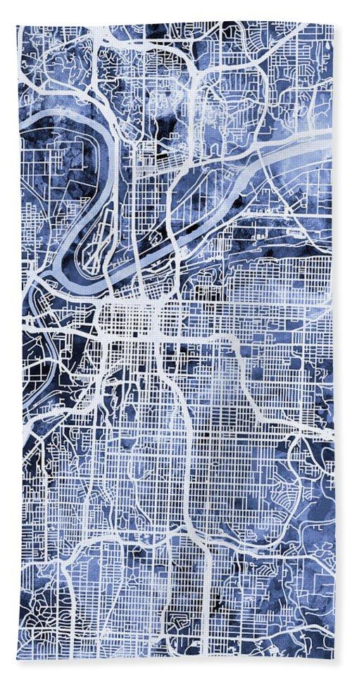 Kansas City Hand Towel featuring the digital art Kansas City Missouri City Map by Michael Tompsett