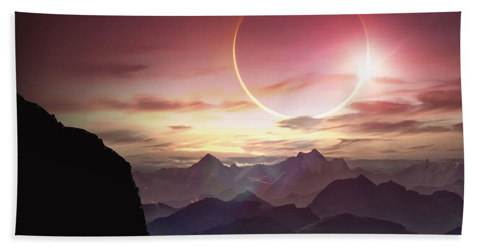 Landscape Hand Towel featuring the digital art Landscape by Zia Low