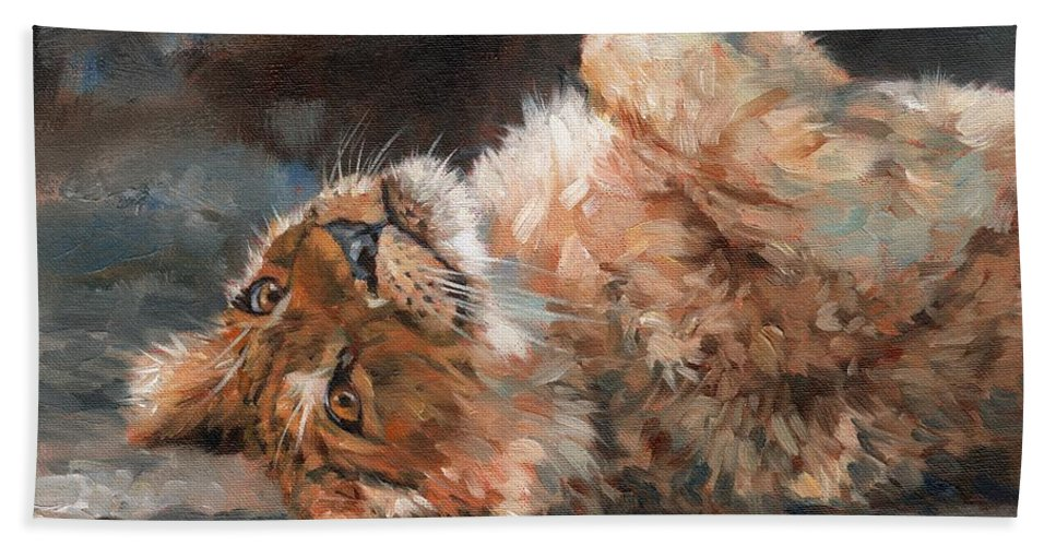Lion Hand Towel featuring the painting Lion Cub by David Stribbling