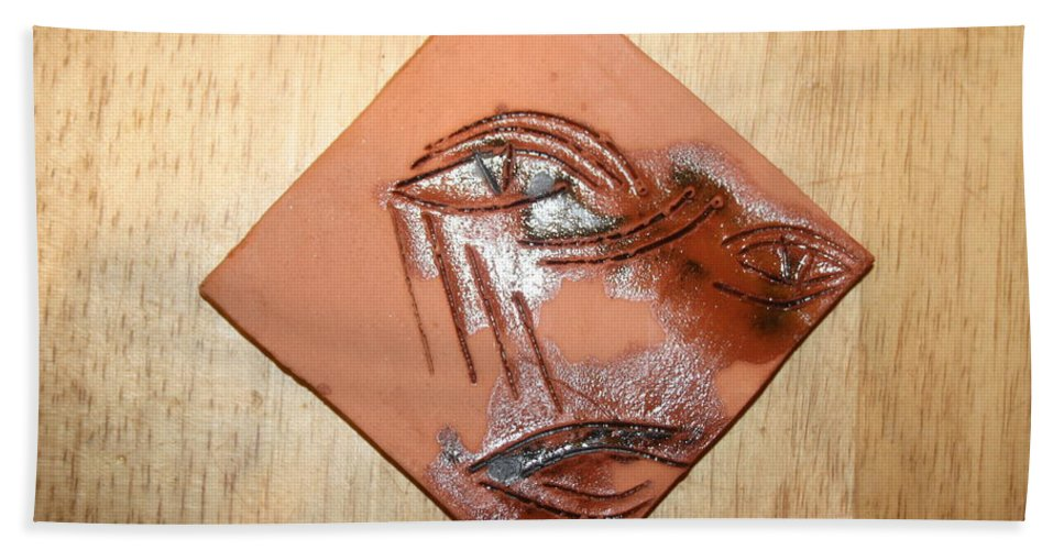 Jesus Hand Towel featuring the ceramic art Loss - Tile by Gloria Ssali