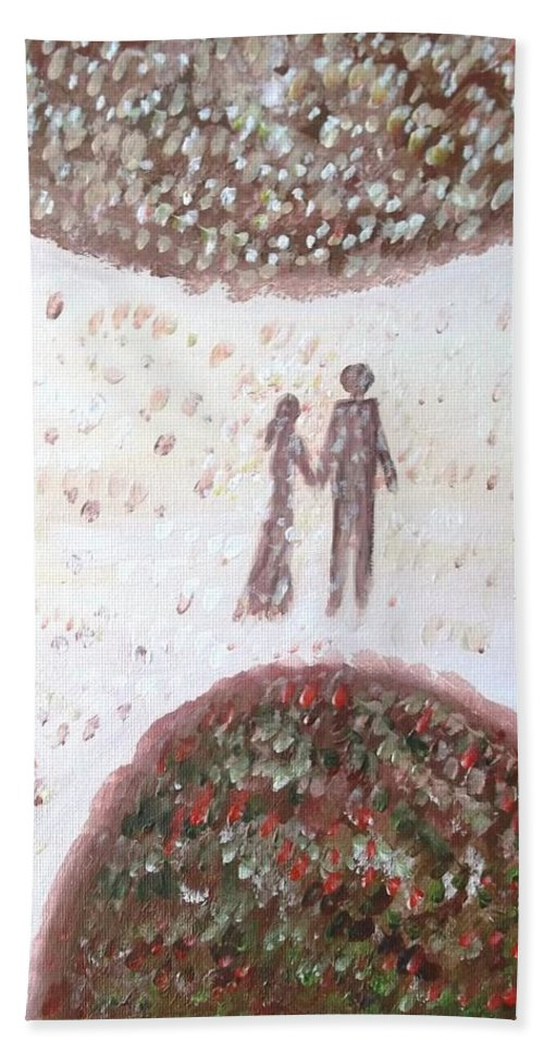 Love Bath Sheet featuring the painting Love by Victoria Dutu