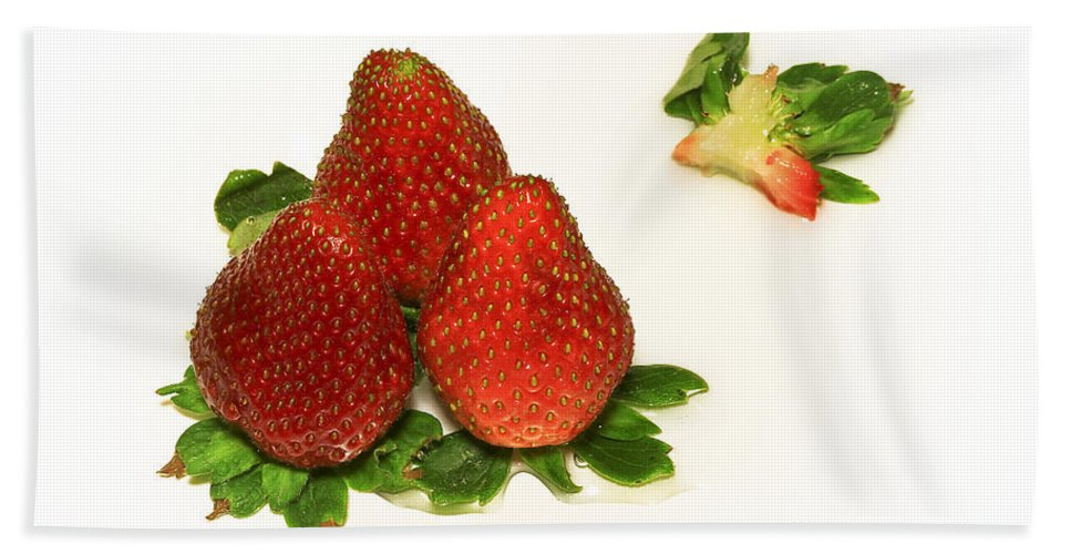 Strawberry Bath Sheet featuring the photograph 4... No... 3 Strawberries by Evelina Kremsdorf