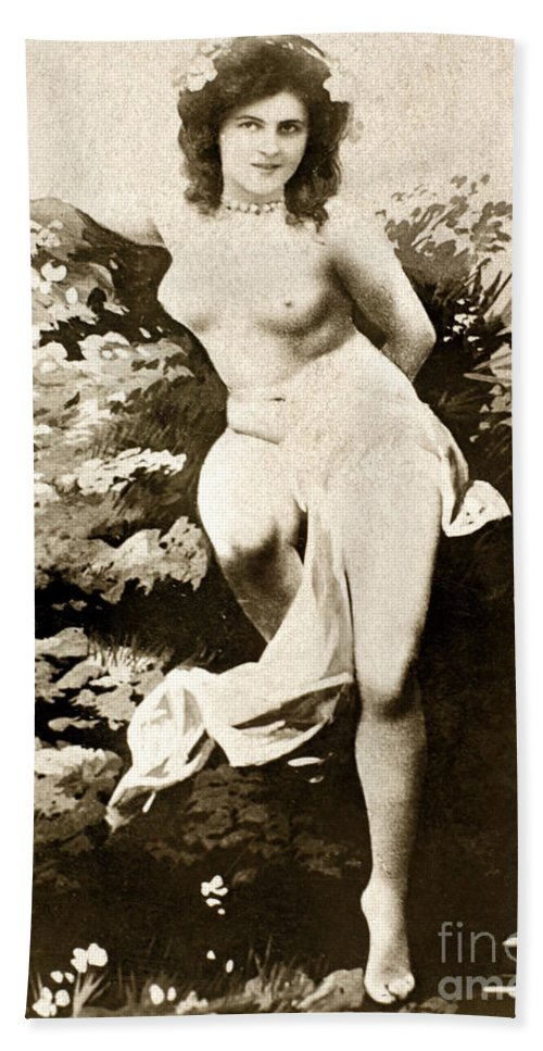 1900 Hand Towel featuring the painting Nude Posing, C1900 by Granger