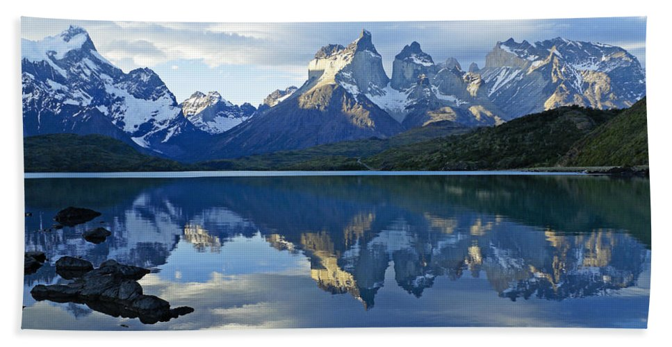Patagonia Hand Towel featuring the photograph Patagonia Reflection by Michele Burgess