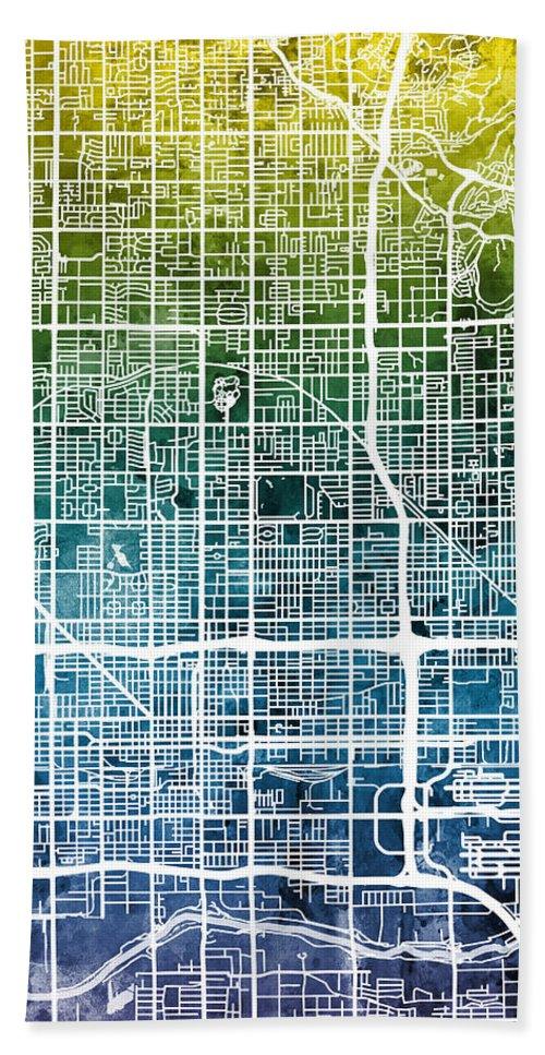 Phoenix Hand Towel featuring the digital art Phoenix Arizona City Map by Michael Tompsett