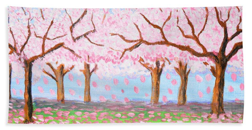 Art Bath Sheet featuring the painting Pink Garden, Oil Painting by Irina Afonskaya