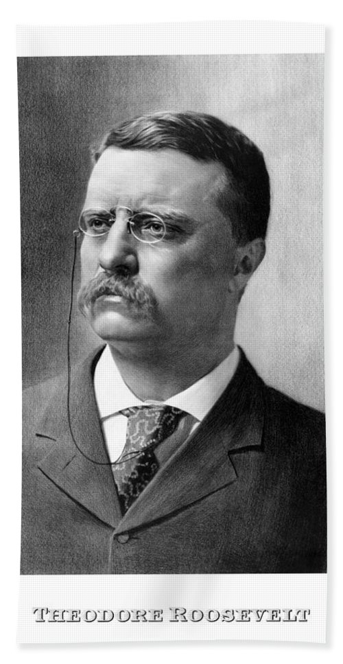 Teddy Roosevelt Hand Towel featuring the mixed media President Theodore Roosevelt by War Is Hell Store
