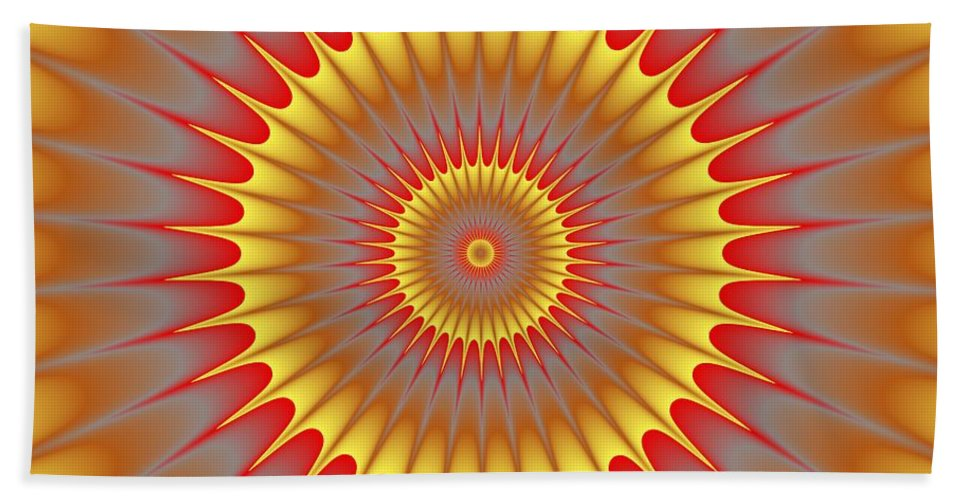Psycho Hand Towel featuring the digital art Psycho Hypno Floral Pattern by Miroslav Nemecek