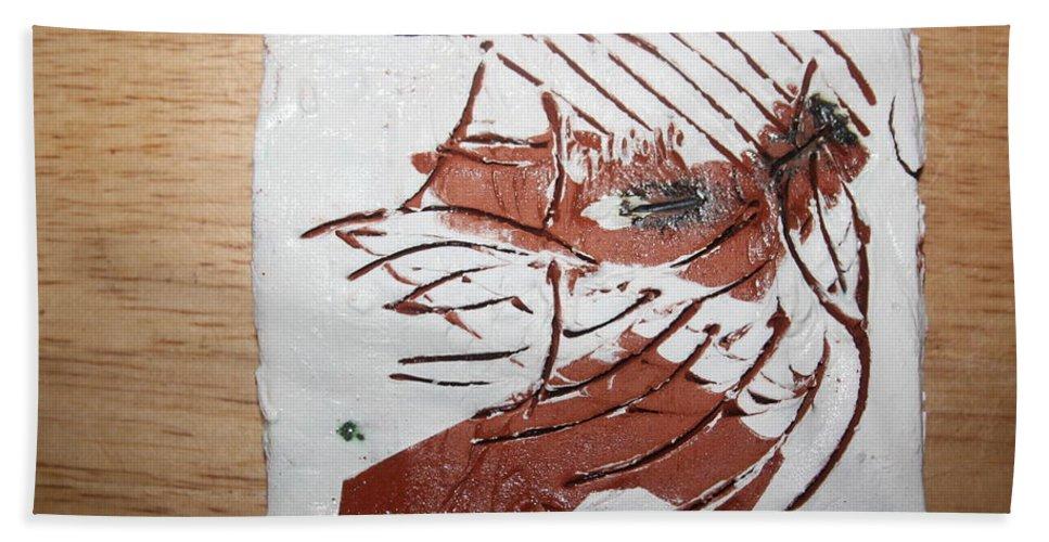 Jesus Bath Sheet featuring the ceramic art Rest - Tile by Gloria Ssali