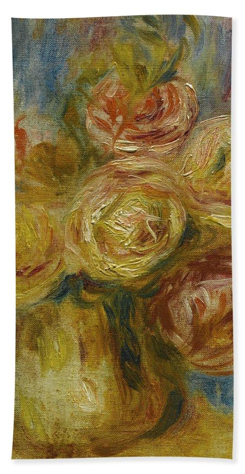 Pierre-auguste Renoir Bath Sheet featuring the painting Roses by Pierre-Auguste Renoir