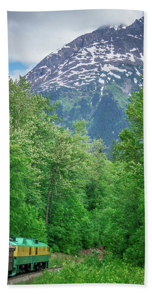 White Hand Towel featuring the photograph Scenic Train From Skagway To White Pass Alaska by Alex Grichenko