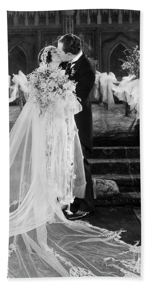 -weddings & Gowns- Bath Towel featuring the photograph Silent Film Still: Wedding by Granger