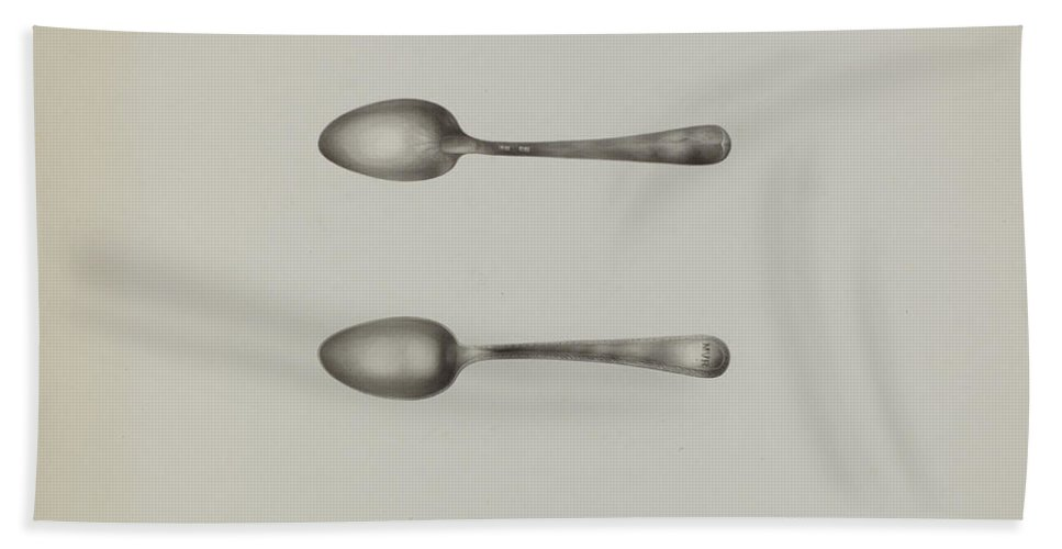 Hand Towel featuring the drawing Silver Spoon by Kalamian Walton