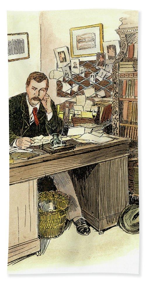 1890s Bath Sheet featuring the drawing Sir Arthur Conan Doyle by Granger