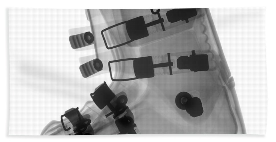 X-ray Hand Towel featuring the photograph Ski Boot by Ted Kinsman