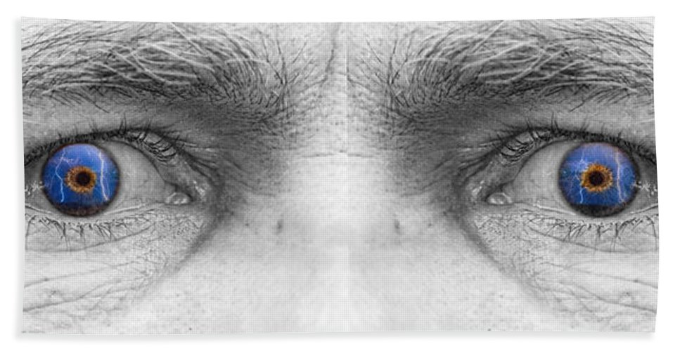 Eyes Bath Sheet featuring the photograph Stormy Angry Eyes by James BO Insogna
